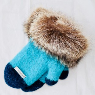 Mittens with fur : Turquoise with marine tip - Wild cat