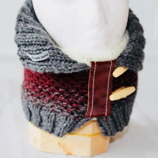Neck warmer : Bourgogne with gray gradient and pale grey colar