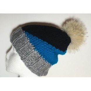 Toque : Grey, black and blue