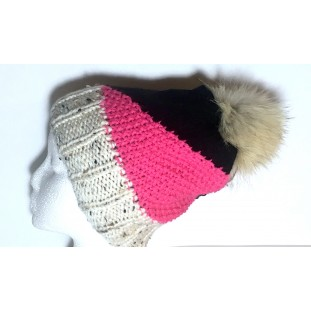 Toque : Beige tweed, black and pink bubble gum