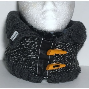 Neck warmer : Grey tweed with charcoal colar