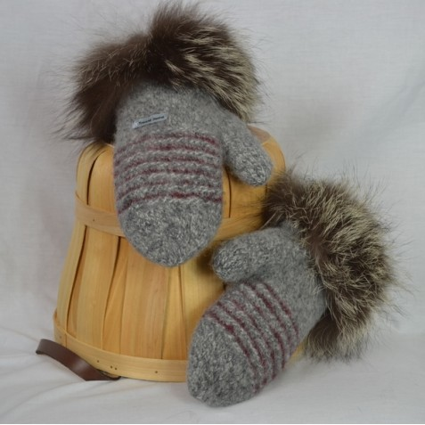 Grey tweed and burgundy mittens with recycled fur