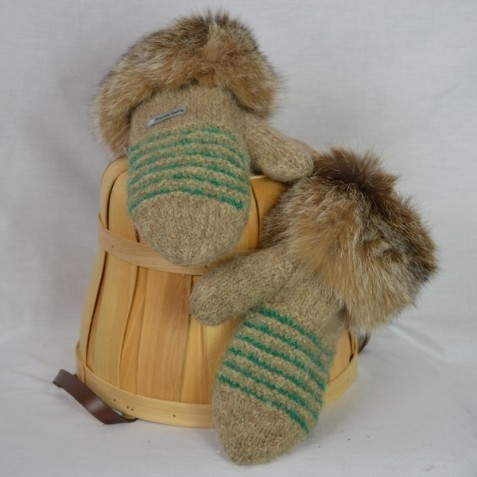 Natural beige and green mittens with recycled fur