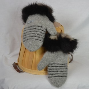 Pale grey and black mittens with recycled fur