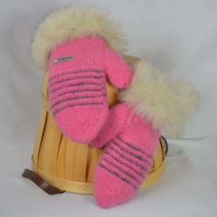 Pale pink and charcoal mittens with recycled fur