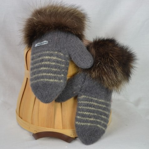 Charcoal and pale yellow mittens with recycled fur