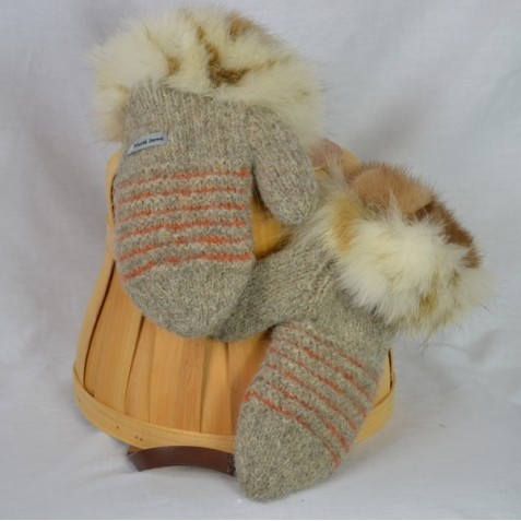 Natural beige and orange mittens with recycled fur