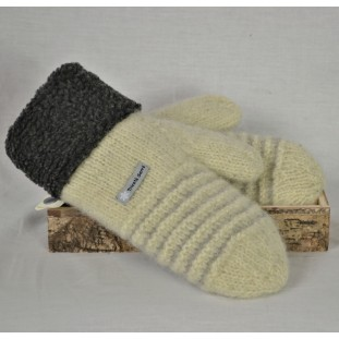 Pale yellow and pale grey wool mittens with berbere