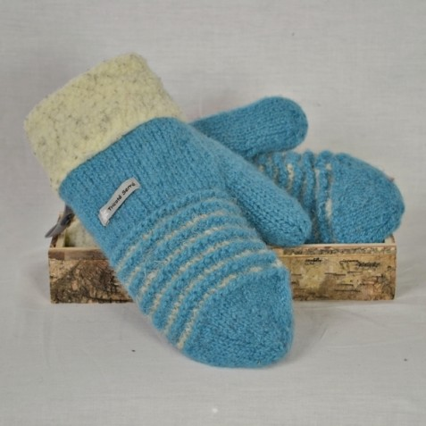 Steel blue and pale grey wool mittens with berbere