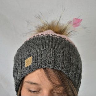 Toque : grey and pink